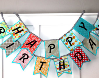 birthday banner with picture ; il_340x270