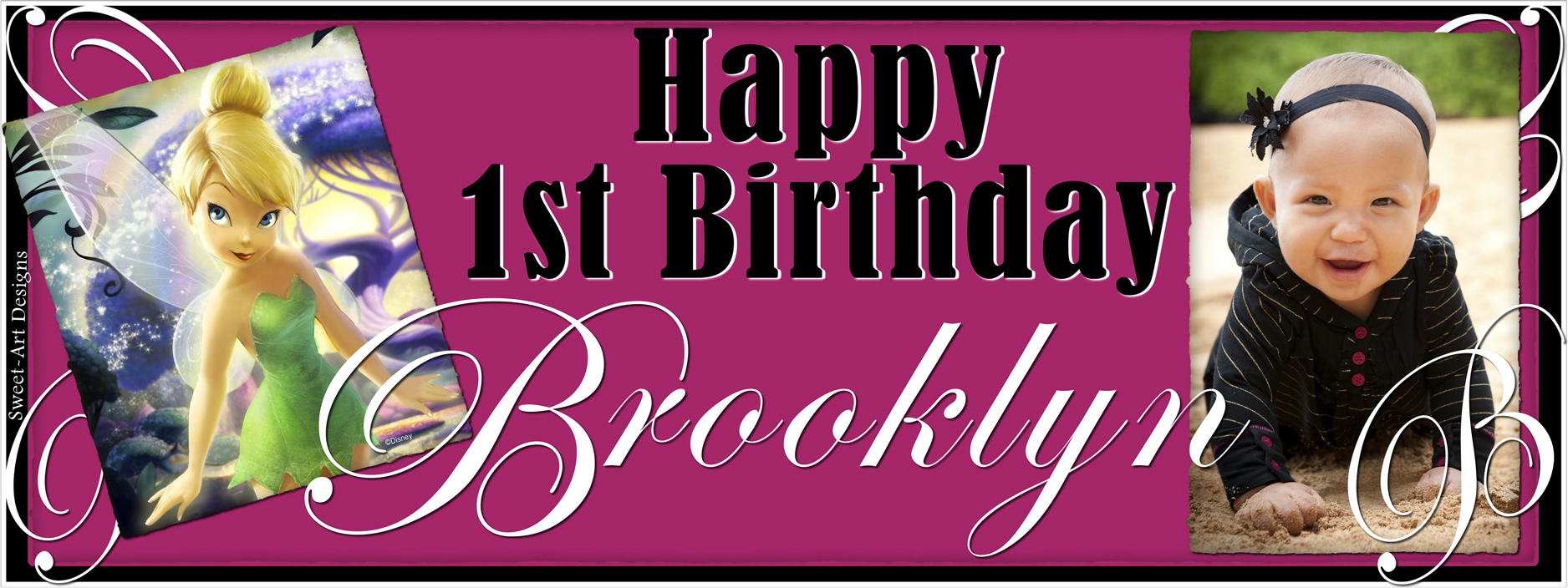 birthday banner with picture ; tinkerbell-birthday-banner-8-x-31