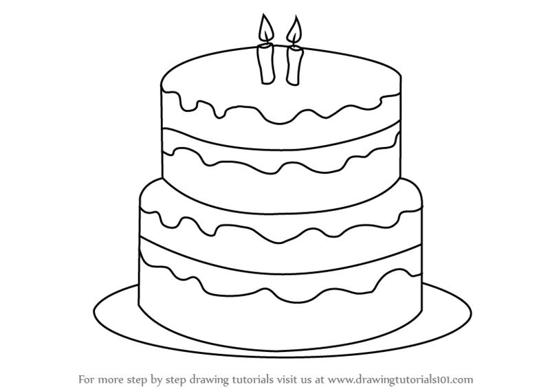 birthday cake drawing pictures ; how-to-draw-Birthday-Cake-step-0