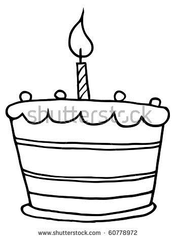 birthday cake drawing pictures ; stock-vector-outlined-tiered-birthday-cake-with-one-candle-on-top-60778972