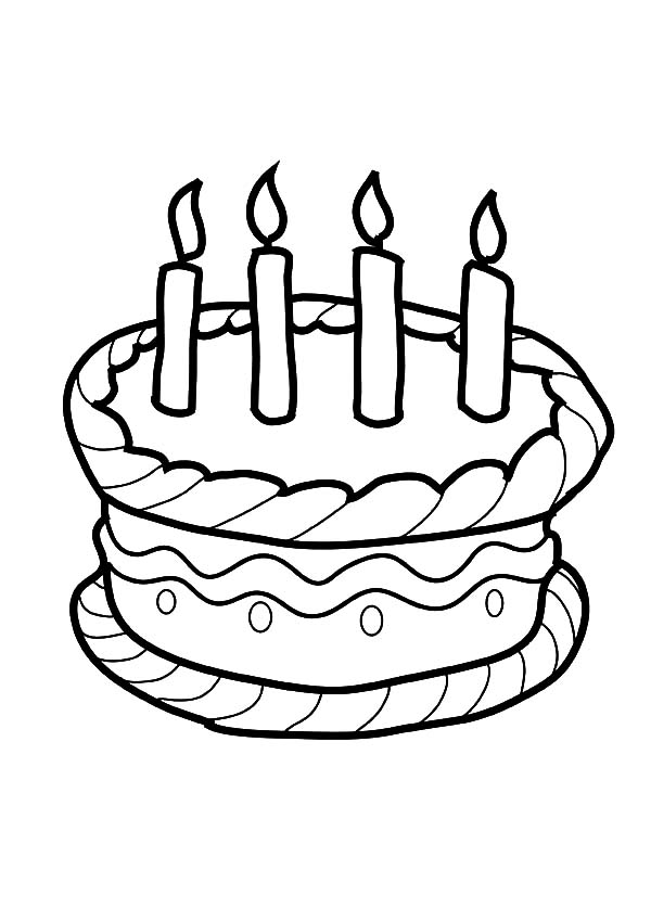 birthday cake drawing template ; Four-Candles-on-Birthday-Cake-Coloring-Pages
