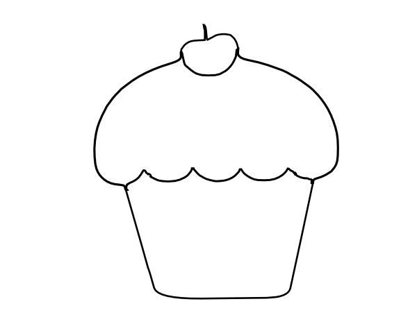 birthday cake drawing template ; cupcake-outline-clip-art_90568