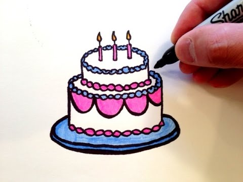 birthday cake easy drawing ; birthday-cake-drawings-how-to-draw-a-birthday-cake-youtube