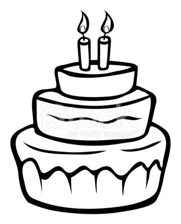 birthday cake line drawing ; 15218340-birthday-cake-outline