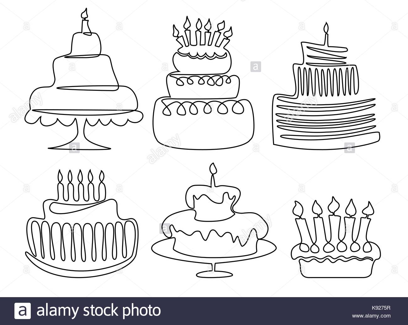 birthday cake line drawing ; birthday-cake-one-line-drawing-K9275R