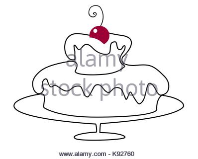 birthday cake line drawing ; birthday-cake-one-line-drawing-k92760