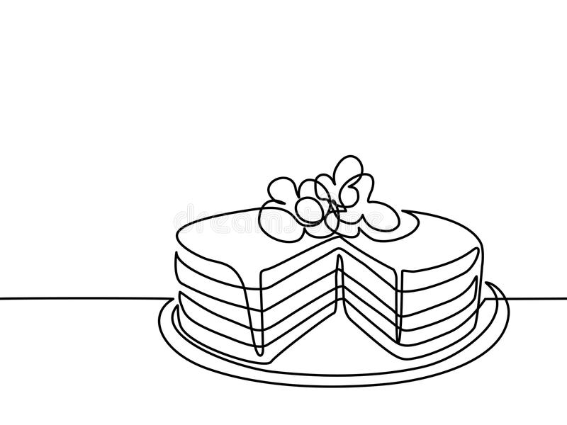 birthday cake line drawing ; continuous-line-drawing-big-cake-vector-illustration-black-white-background-96013929