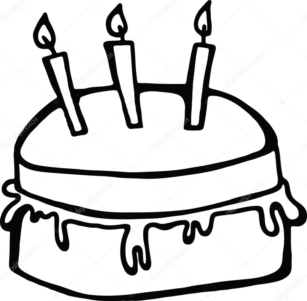 birthday cake line drawing ; depositphotos_64293315-stock-illustration-birthday-cake-with-candles