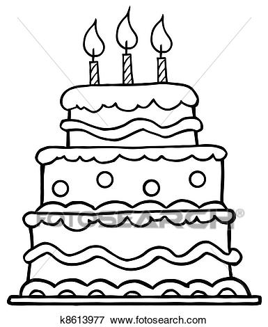 birthday cake line drawing ; outlined-birthday-cake-clip-art__k8613977