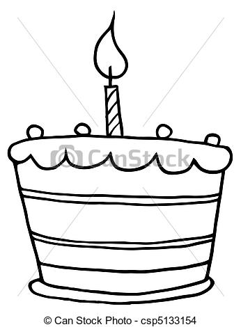 birthday cake line drawing ; outlined-tiered-birthday-cake-eps-vector_csp5133154