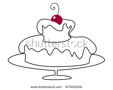 birthday cake line drawing ; stock-vector-birthday-cake-one-line-drawing-673403248