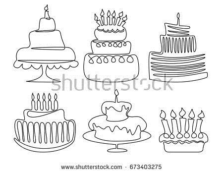 birthday cake line drawing ; stock-vector-birthday-cake-one-line-drawing-673403275