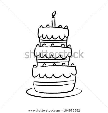 birthday cake line drawing ; stock-vector-drawing-of-cake-104879582