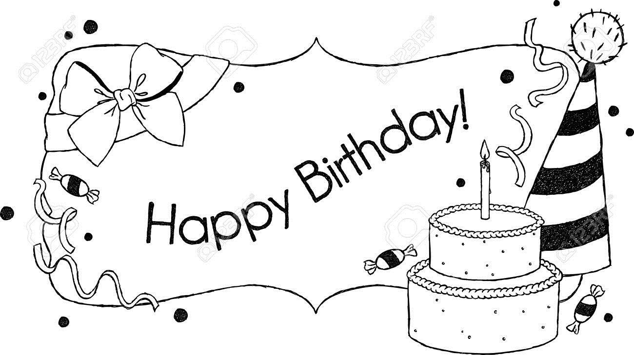 birthday card clipart black and white ; 19237729-birthday-card-uncolored-hand-drawn-birthday-greetings-with-a-cake-hat-and-bow
