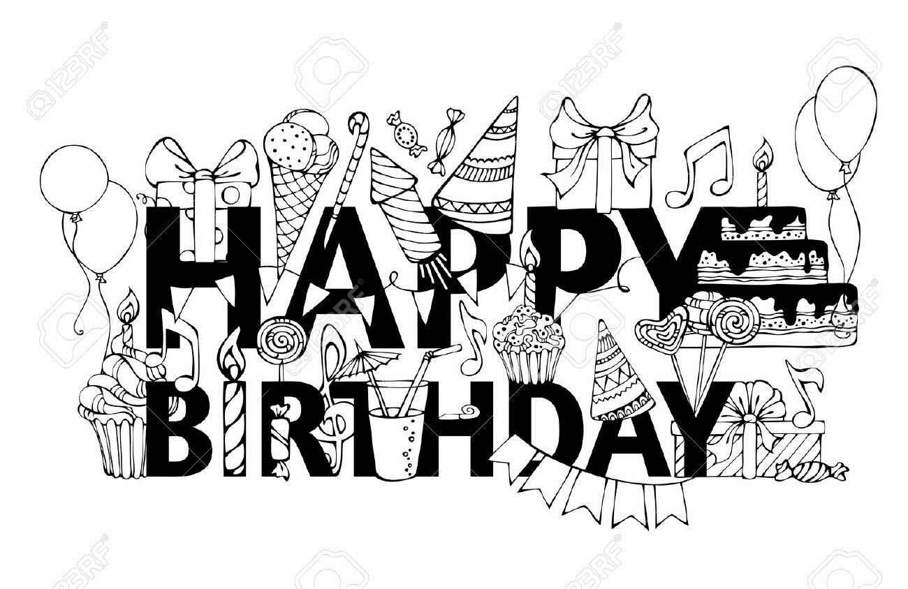 birthday card clipart black and white ; 45288156-happy-birthday-card-hand-drawn-doodles-gift-boxes-garlands-and-balloons-music-notes-party-blowouts-c