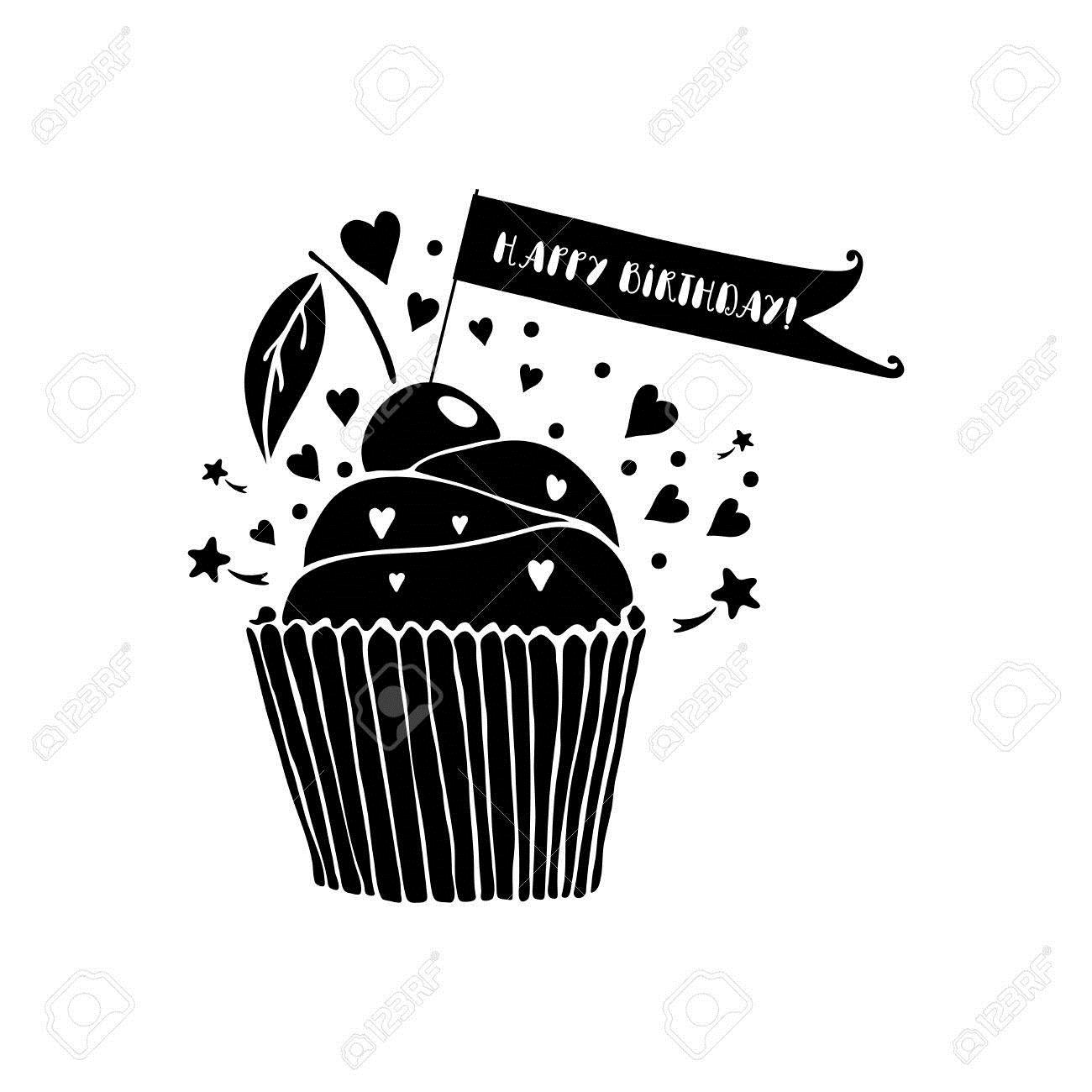 birthday card clipart black and white ; 64963703-happy-birthday-greeting-card-with-cupcake-on-white-background-black-and-white-vector-illustration-gr