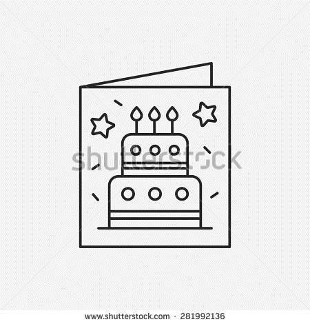 birthday card clipart black and white ; stock-vector-birthday-card-line-icon-281992136