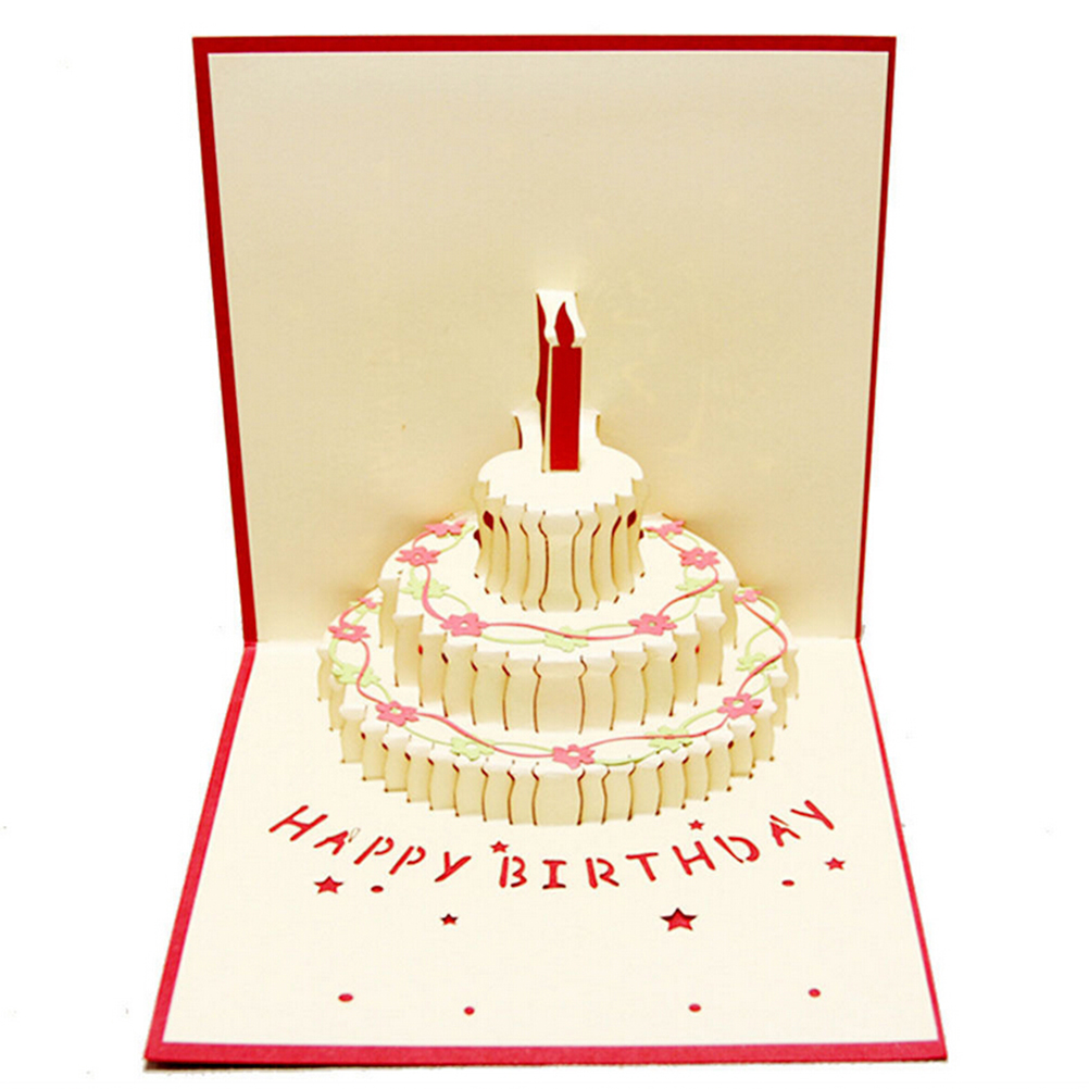 birthday card design images ; Birthday-Cake-Candle-Design-Greeting-Card-3D-Handcrafted-Origami-Envelope-Invitation-Card-Kirigami-Anniversary-Pop-Up
