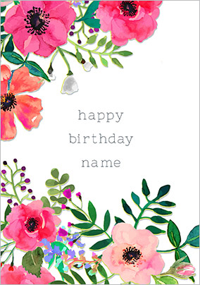 birthday card design with photo ; Card_NeonBloom_BDay16_WhiteBloom_P