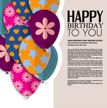 birthday card design with photo ; template_birthday_greeting_card_vector_549392