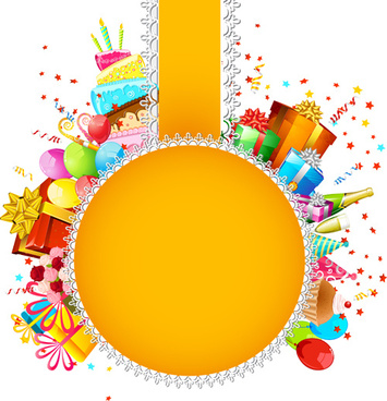 birthday card design with photo ; vector_set_of_birthday_cards_design_elements_545522