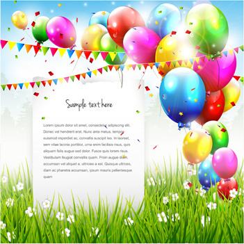 birthday card design with photo ; vector_set_of_birthday_cards_design_elements_545526