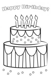 birthday card drawings free ; printable-birthday-cards-to-color-greeting-art-drawing-free-print-without-coloring-cake-birthdays-with-candles-white-background-simple