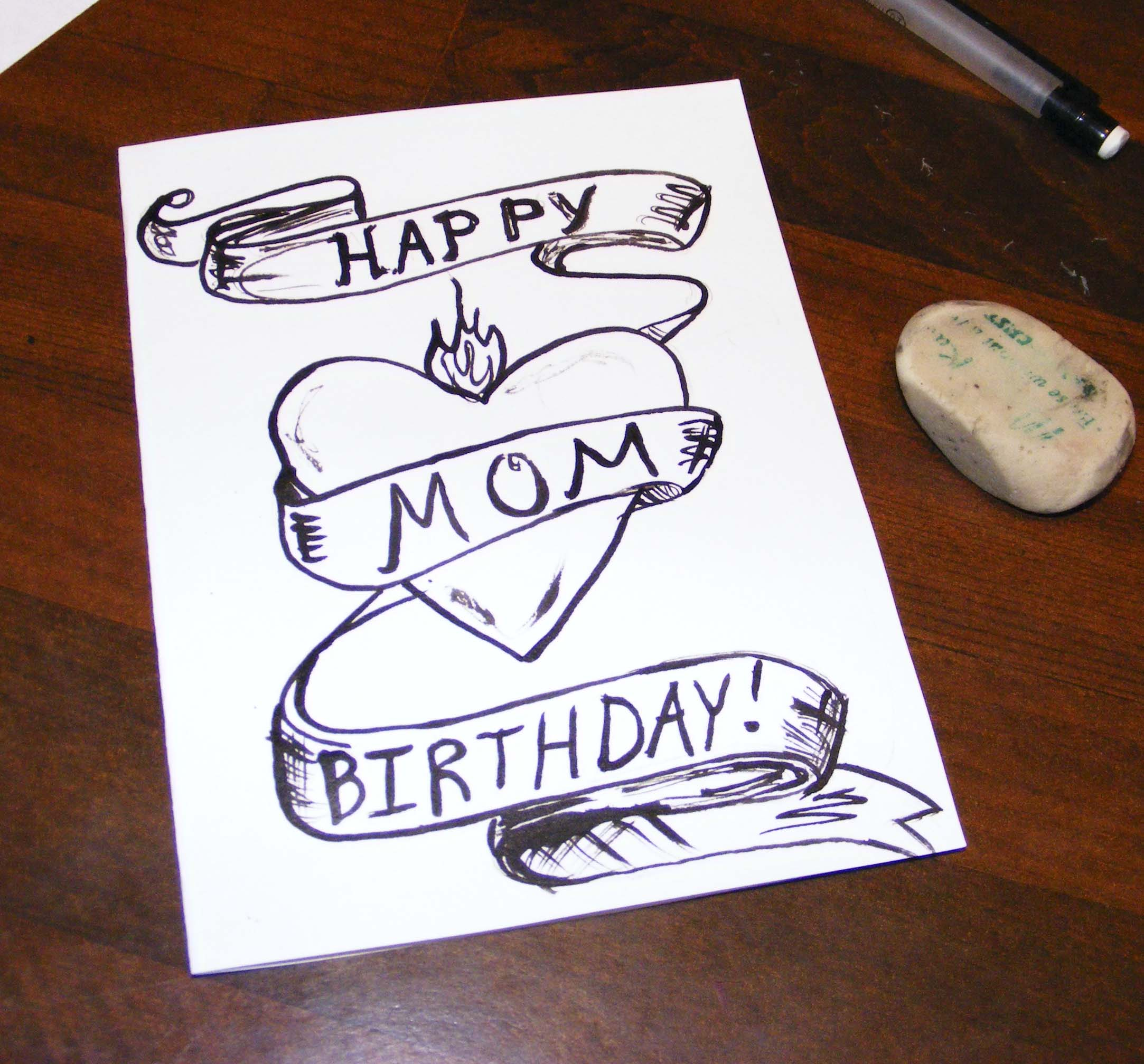 birthday card ideas for mom drawings ; unpainted