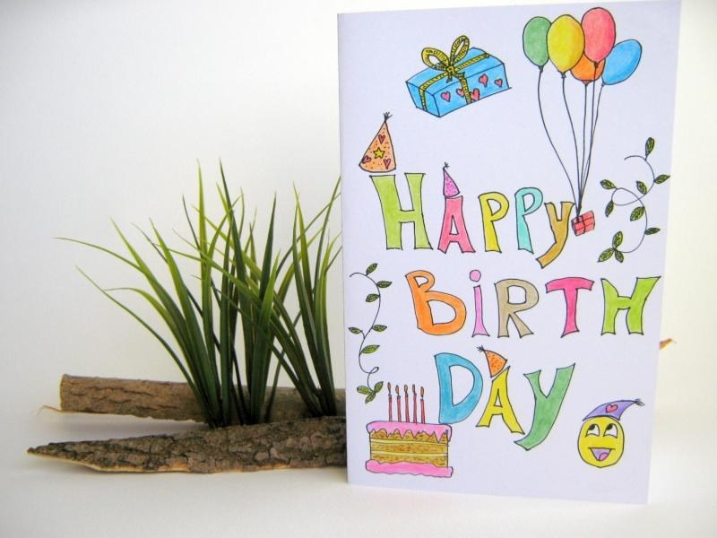 birthday card pictures to draw ; drawn-child-birthday-card-pencil-and-in-color-drawn-child-with-regard-to-easy-birthday-card-drawings