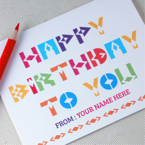 birthday card with picture and name ; Write-Name-on-Happy-Birthday-to-you-Scatch-drawing-Card