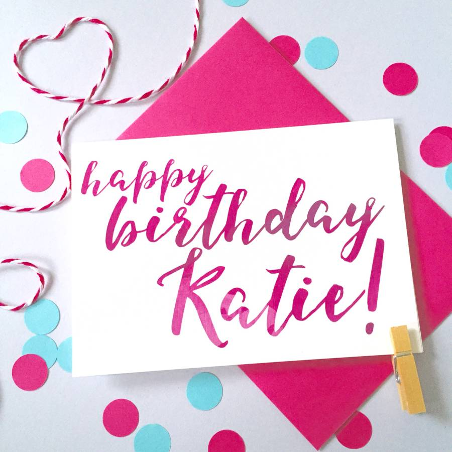 birthday card with picture and name ; original_personalised-name-calligraphy-birthday-card