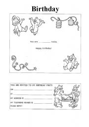 birthday card worksheet ; thumb4062252234497