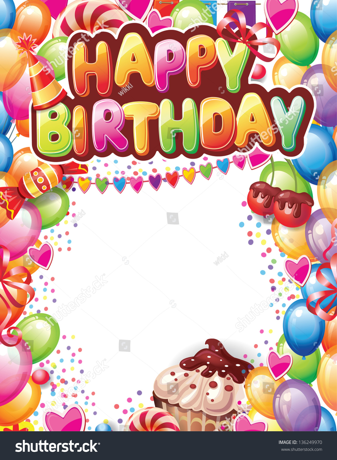 birthday cards design with message ; stock-vector-template-for-happy-birthday-card-136249970