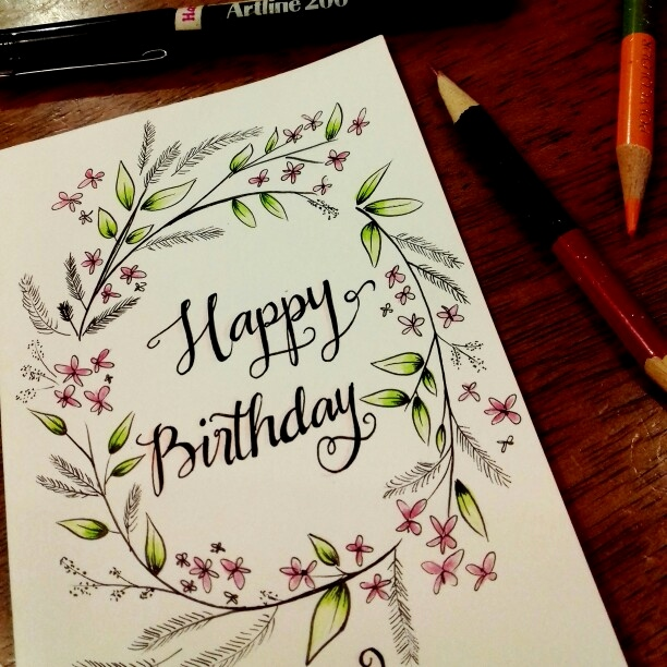 birthday cards for drawing ; happy-birthday-card-drawing-new-hand-drawn-birthday-card-happy-birthday-typography-with-flower-of-happy-birthday-card-drawing
