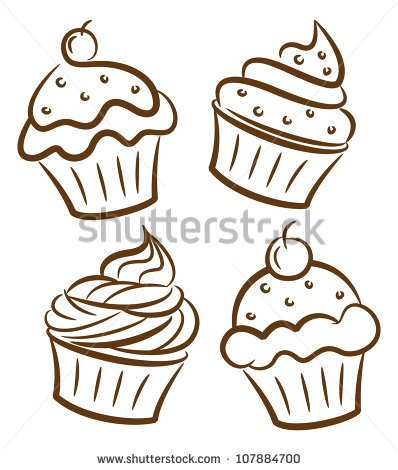 birthday cupcake drawing ; 5e3239ebed0accc87f043d70894b77c9