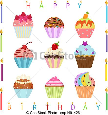 birthday cupcake drawing ; cupcake-with-happy-birthday-candles-clip-art-vector_csp14914261