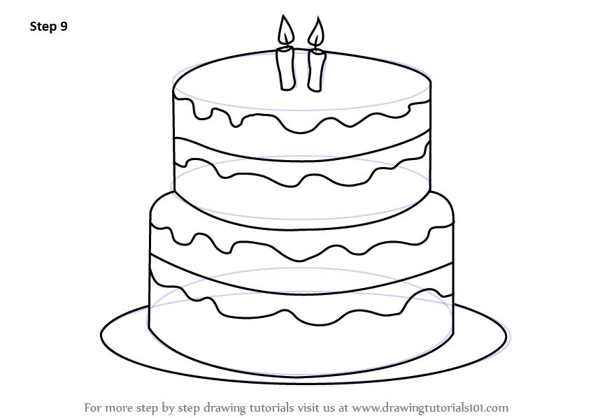 birthday drawings step by step ; how-to-draw-Birthday-Cake-step-9