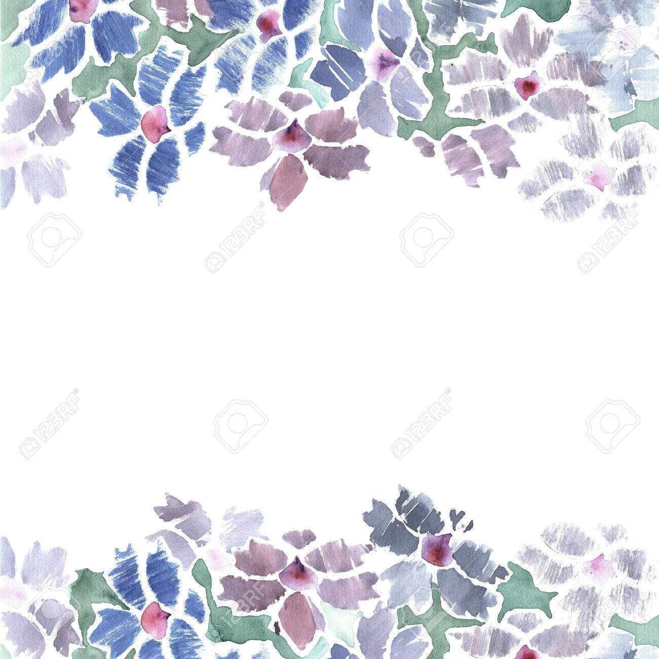 birthday flower borders ; 65195544-cute-watercolor-flower-border-with-blue-bachelor-buttons-invitation-wedding-card-birthday-card-