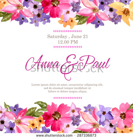 birthday flower borders ; stock-vector-wedding-invitation-with-watercolor-flowers-birthday-card-floral-background-floral-decorative-287336873