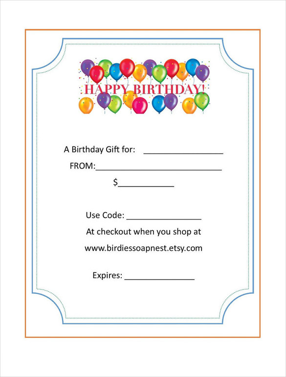 Birthday Gift Certificate Template Free Printable Cute