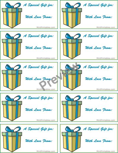 birthday gift labels template ; present-preview