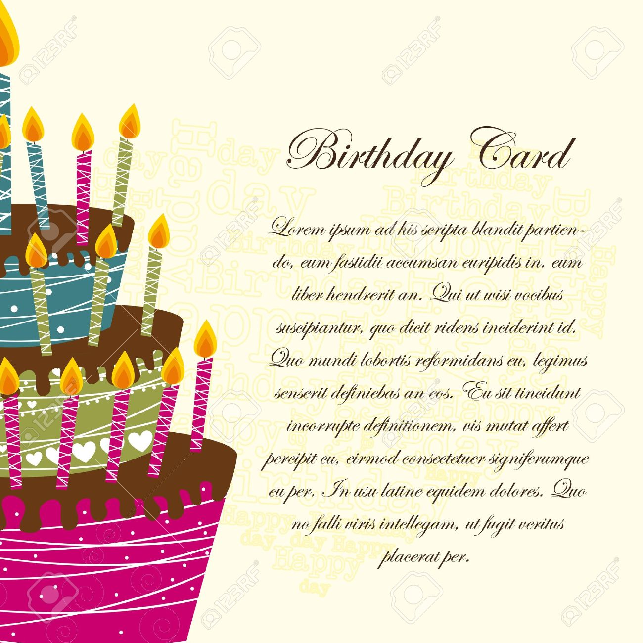 birthday greeting card background design ; 12459227-birthday-card-with-cake-over-beige-background-