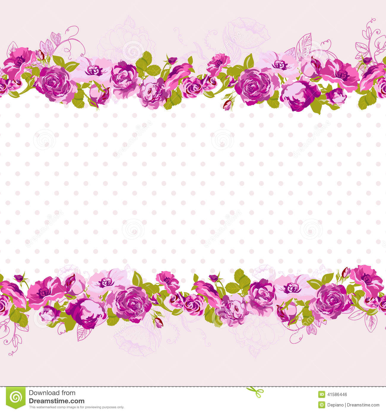 birthday greeting card background design ; seamless-border-blossom-roses-vector-floral-greeting-card-spring-background-wedding-birthday-invitation-design-41586446