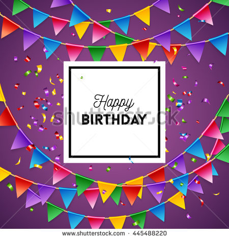 birthday greeting card background design ; stock-vector-happy-birthday-greeting-card-background-design-template-in-purple-with-streamers-and-triangular-445488220