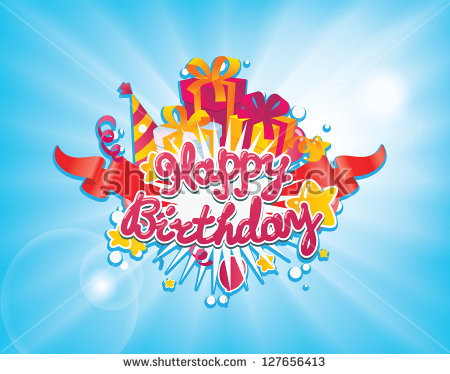 birthday greeting card background design ; stock-vector-happy-birthday-greetings-card-design-vector-background-127656413