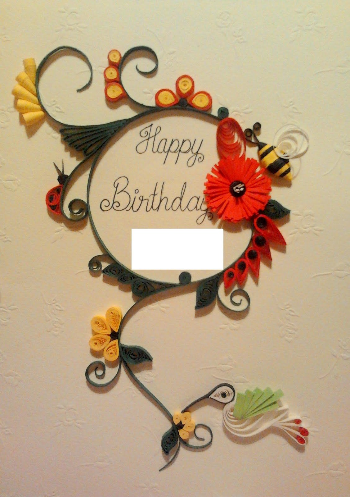 birthday greeting card design quilling ; Frederick+Card1