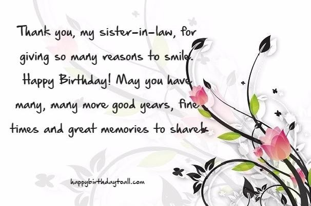 birthday greeting messages for sister in law ; Thank-You-My-Sister-In-Law-For-Giving-So-Many-Reason-To-Shine-happy-Birthday-2
