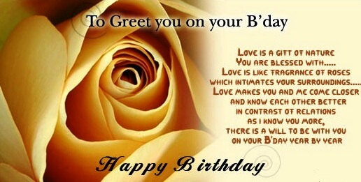 birthday greetings for friend with message ; meaningful-birthday-wishes-yellow-rose
