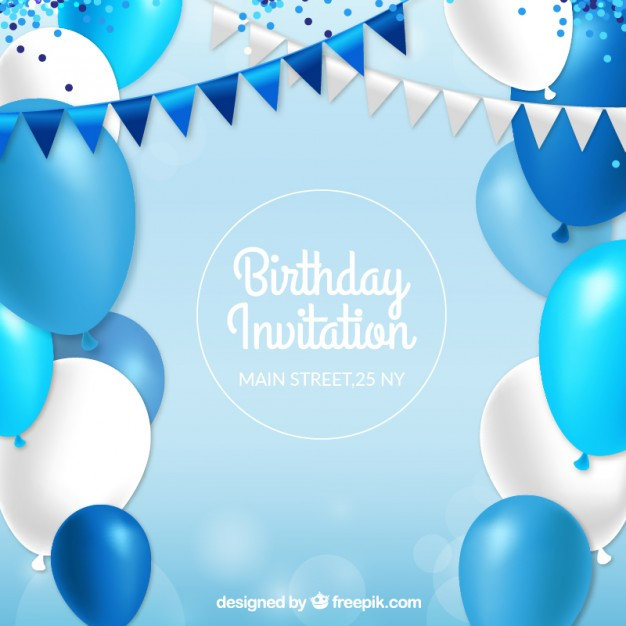 birthday invitation card background design ; birthday-invitation-with-blue-balloons_23-2147554521