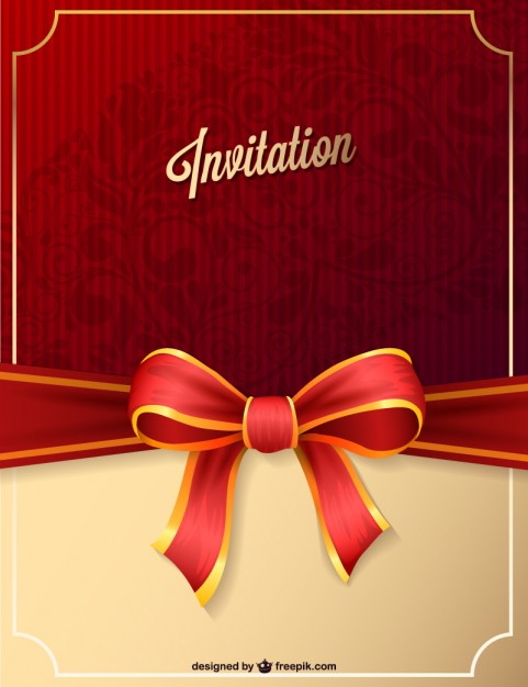 birthday invitation card background design ; red-party-invitation-with-ribbon_23-2147490020